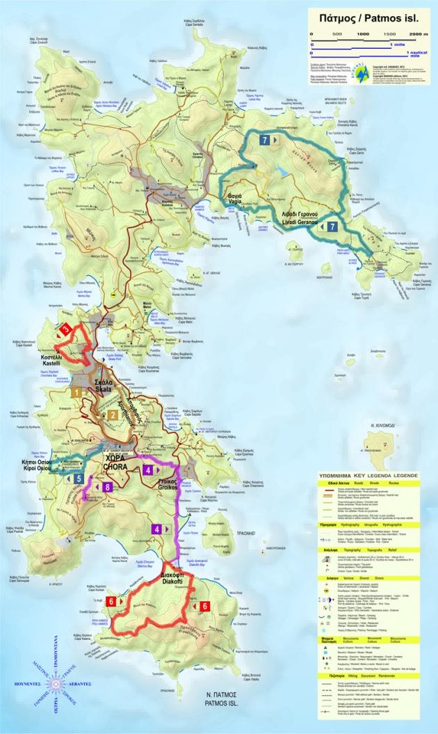 Χάρτης μονοπατιών της Πάτμου